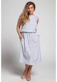 Nommo - Marszczona Midi Sukienka bez Rękawów PLUS SIZE. Kolekcja: plus size. Materiał: wiskoza, poliester. Długość rękawa: bez rękawów. Typ sukienki: dla puszystych. Długość: midi