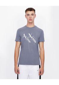 Armani Exchange - ARMANI EXCHANGE - Bawełniany T-shirt z logo. Okazja: na co dzień. Kolor: szary. Materiał: bawełna. Wzór: nadruk. Sezon: wiosna. Styl: elegancki, casual, klasyczny