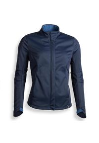 FOUGANZA - Kurtka jeździecka 500 Softshell damska. Kolor: niebieski. Materiał: elastan, poliester