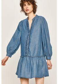 Niebieska sukienka ANSWEAR casualowa, ze stójką