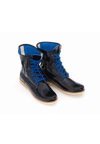 Zapato - sznurowane botki na niskim obcasie - skóra naturalna - model 424 - kolor niebieski naplak. Okazja: na spacer. Wysokość cholewki: za kostkę. Kolor: niebieski. Materiał: skóra. Obcas: na obcasie. Styl: sportowy. Wysokość obcasa: niski