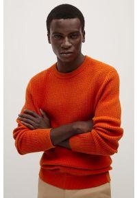 Pomarańczowy sweter Mango Man casualowy, z okrągłym kołnierzem, z długim rękawem, na co dzień