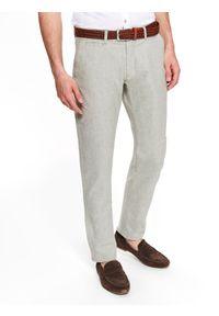 Beżowe spodnie TOP SECRET w kolorowe wzory, długie, klasyczne