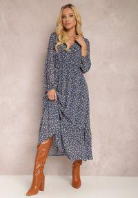 Renee - Granatowa Sukienka Erasakos. Kolor: niebieski. Wzór: kwiaty, aplikacja. Długość: maxi #3