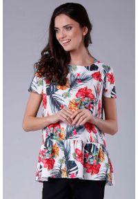 Nommo - Kobieca Oversizowa Bluzka Wykończona Falbanką. Materiał: wiskoza, poliester