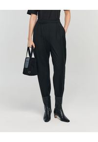 ANIA KUCZYŃSKA - Spodnie Fiore z wełny. Kolor: czarny. Materiał: wełna. Wzór: gładki, aplikacja. Sezon: lato