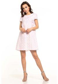 Różowa sukienka wizytowa Tessita na lato, w kwiaty