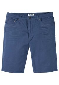 Bermudy dżinsowe ze stretchem Regular Fit bonprix indygo. Kolor: niebieski. Wzór: gładki