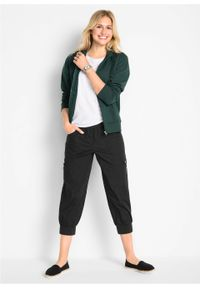 """Spodnie """"bojówki"""" 3/4 z wygodnym paskiem bonprix czarny. Kolor: czarny"""