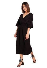 BE - Swobodna sukienka midi z szeroką gumą w pasie czarna. Okazja: na co dzień. Kolor: czarny. Materiał: guma. Sezon: wiosna, lato. Typ sukienki: proste. Styl: boho, casual. Długość: midi #1