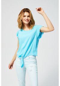 Niebieska koszula MOODO krótka, z koszulowym kołnierzykiem