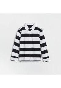 Reserved - Bawełniany longsleeve polo - Czarny. Typ kołnierza: polo. Kolor: czarny. Materiał: bawełna. Długość rękawa: długi rękaw
