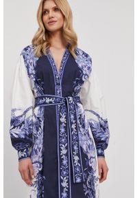TwinSet - Twinset - Sukienka. Okazja: na co dzień. Kolor: biały. Materiał: tkanina. Typ sukienki: proste. Styl: casual