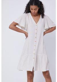 medicine - Medicine - Sukienka Essential. Kolor: beżowy. Materiał: tkanina. Długość rękawa: krótki rękaw. Wzór: gładki. Typ sukienki: rozkloszowane