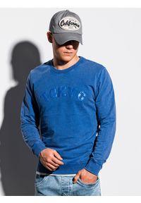 Niebieska bluza Ombre Clothing klasyczna, z nadrukiem, bez kaptura