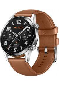 HUAWEI - Smartwatch Huawei Watch GT 2 46mm Brązowy. Rodzaj zegarka: smartwatch. Kolor: brązowy