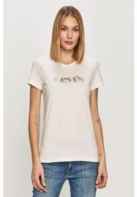 Biała bluzka Levi's® z nadrukiem, na spotkanie biznesowe