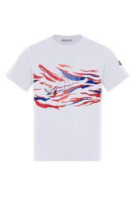 MONCLER KIDS - Biały t-shirt z nadrukiem 4-14 lat. Kolor: biały. Materiał: bawełna. Wzór: nadruk. Sezon: lato. Styl: klasyczny