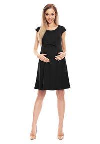 e-margeritka - Sukienka ciążowa na lato czarna - l/xl. Typ kołnierza: kokarda. Kolekcja: moda ciążowa. Kolor: czarny. Materiał: wiskoza, materiał, poliester. Wzór: aplikacja. Sezon: lato. Typ sukienki: rozkloszowane