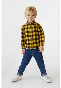 Żółta koszula Mango Kids długa, z długim rękawem, casualowa, na co dzień