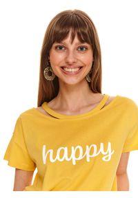 Żółty t-shirt TOP SECRET na co dzień, krótki