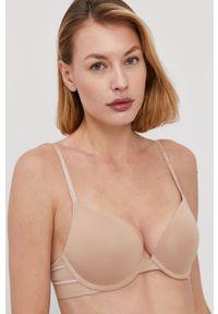Beżowy biustonosz Calvin Klein Underwear z fiszbinami, z nadrukiem
