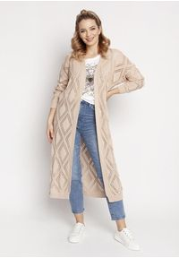 MKM - Długi Swetrowy Płaszczyk z Ażurem - Beżowy. Kolor: beżowy. Materiał: bawełna, akryl. Długość: długie. Wzór: ażurowy