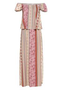 Sukienka z dekoltem carmen bonprix piaskowy beżowy - dymny jasnoróżowy - terakota wzorzysty. Typ kołnierza: typu carmen. Kolor: beżowy
