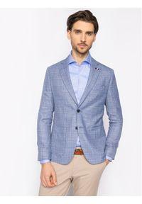 Tommy Hilfiger Tailored Marynarka Soft Constructed Check TT0TT07222 Niebieski Slim Fit. Kolor: niebieski