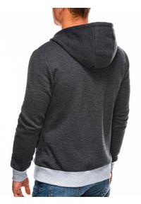 Ombre Clothing - Bluza męska rozpinana z kapturem B297 - grafitowa - XXL. Typ kołnierza: kaptur. Kolor: szary. Materiał: dzianina, poliester, bawełna