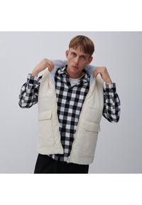 Reserved - Koszula regular fit w kratę - Biały. Kolor: biały