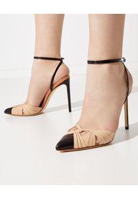 FRANCESCO RUSSO - Dwukolorowe sandały ze skóry. Zapięcie: pasek. Kolor: czarny. Materiał: skóra. Obcas: na szpilce