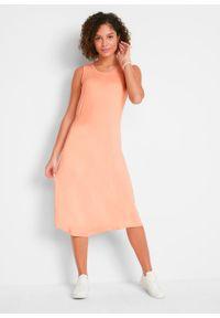 Sukienka z dżerseju z asymetryczną linią dołu i przeszyciem cienkimi gumkami bonprix brzoskwiniowy. Kolor: pomarańczowy. Materiał: jersey. Typ sukienki: asymetryczne