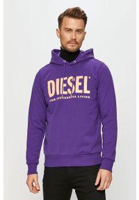 Fioletowa bluza nierozpinana Diesel na co dzień, z kapturem, casualowa, z nadrukiem