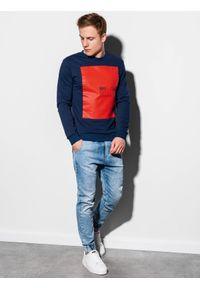 Ombre Clothing - Bluza męska bez kaptura z nadrukiem B1045 - granatowa - XXL. Typ kołnierza: bez kaptura. Kolor: niebieski. Materiał: bawełna. Wzór: nadruk. Styl: klasyczny