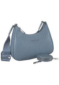 Niebieska torebka DAVID JONES casualowa, skórzana, w jednolite wzory