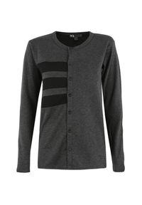 Szary sweter Y-3 sportowy, z kontrastowym kołnierzykiem