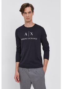 Armani Exchange - Longsleeve. Kolor: niebieski. Materiał: dzianina. Długość rękawa: długi rękaw. Wzór: nadruk