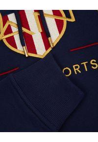 GANT - Granatowa bluza z motywem Archive Shield. Okazja: do pracy. Kolor: niebieski. Materiał: bawełna, materiał. Długość rękawa: długi rękaw. Długość: długie. Styl: klasyczny