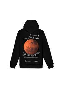 MAJORS - Czarna bluza z dużym nadrukiem Mars. Kolor: czarny. Materiał: dresówka, bawełna, jeans. Wzór: nadruk. Styl: elegancki