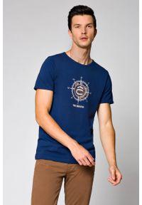 Niebieski t-shirt Lancerto na lato, casualowy, z klasycznym kołnierzykiem, na co dzień