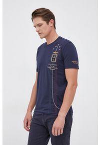 Aeronautica Militare - T-shirt. Okazja: na co dzień. Kolor: niebieski. Materiał: dzianina. Wzór: aplikacja. Styl: casual