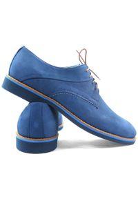 Faber - Niebieskie nubukowe półbuty męskie T12. Kolor: niebieski. Materiał: nubuk. Styl: wizytowy, klasyczny