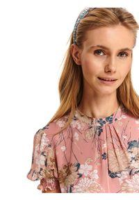Różowa sukienka TOP SECRET koszulowa, z nadrukiem