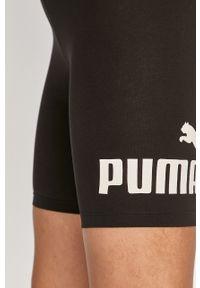 Czarne szorty Puma z nadrukiem, z podwyższonym stanem, sportowe