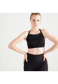 Czarny biustonosz sportowy DOMYOS w koronkowe wzory, na fitness i siłownię