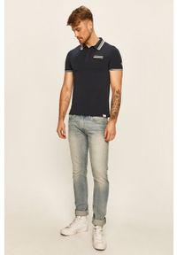 Niebieska koszulka polo Guess Jeans z aplikacjami, polo, krótka