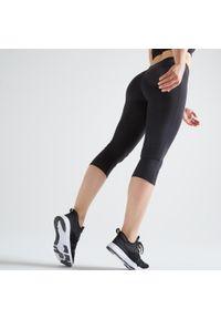 DOMYOS - Rybaczki fitness Domyos 100 damskie. Kolor: czarny. Materiał: poliester, elastan, materiał. Sport: fitness