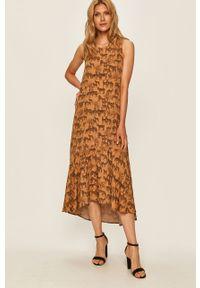 Beżowa sukienka Answear Lab bez rękawów, midi