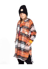 ROBERT KUPISZ - Pomarańczowa koszula w kratę Kids Flannel. Typ kołnierza: kaptur. Kolor: pomarańczowy. Materiał: bawełna. Długość rękawa: długi rękaw. Długość: do kolan. Wzór: aplikacja